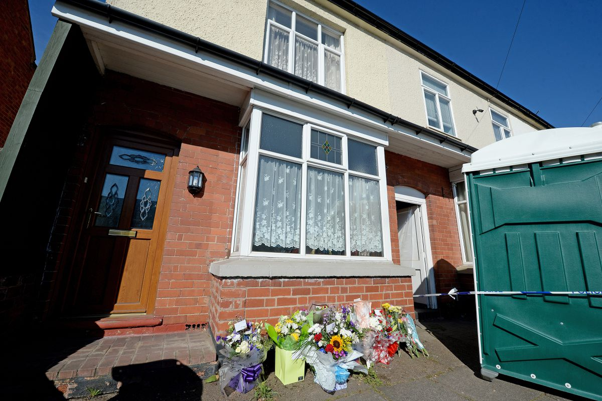 Tributes at the house on Broad Lane, Bloxwich, where Lee Gadd was allegedly murdered