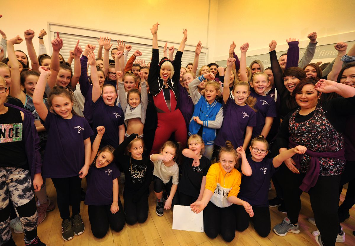 Kimberly Wyatt, during her visit to lead a dance class, at Haden Hill Leisure Centre, Cradley Heath