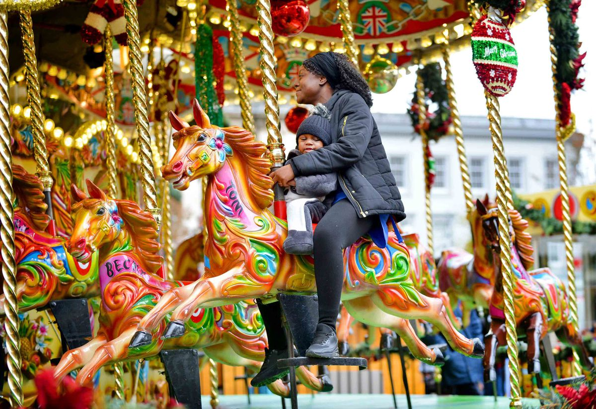 People were already enjoying the carousel at the Christmas market