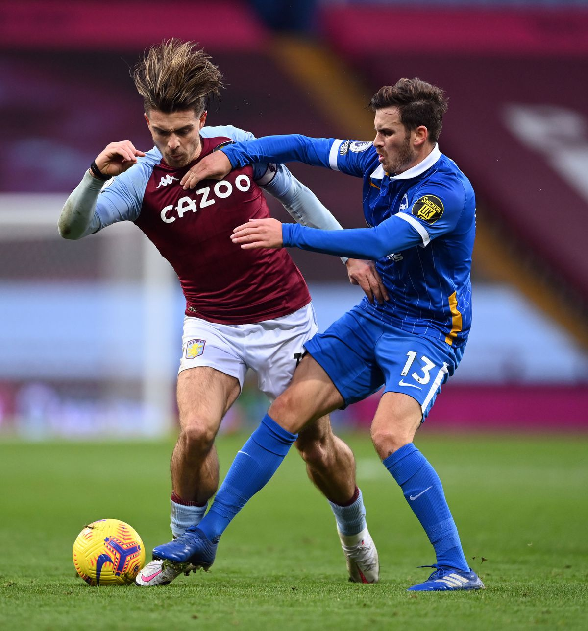 Jack Grealish, left, was fouled seven times during Villa's defeat to Brighton on Saturday.