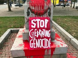 Christopher Columbus statue vandalised in US national holiday protest