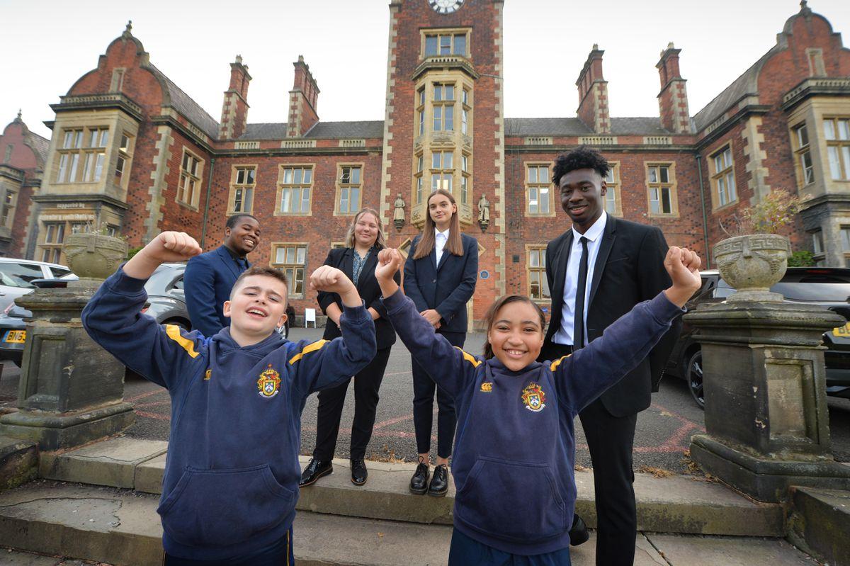 Starting back for a new term at The Royal School, Wolverhampton, are Harry Ryan, 10, and Gabrielle Ellis, 10, Zibusiso Phakathi, 17, Sophie Whitehouse, 17, Nina Mesic, 18, and Dafe Akpoguma, 17