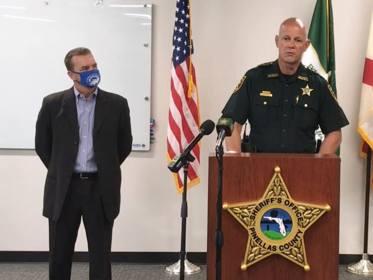 Pinellas County Sheriff Bob Gualtieri speaks during a news conference as Oldsmar, Florida