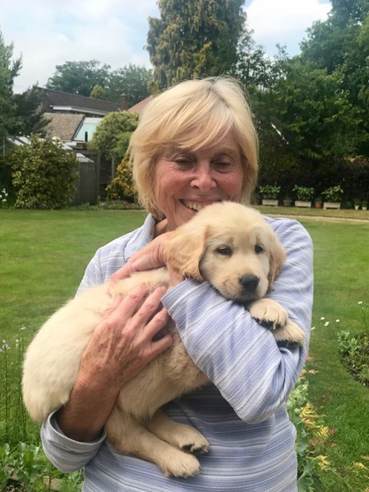 Jean with puppy Sandy