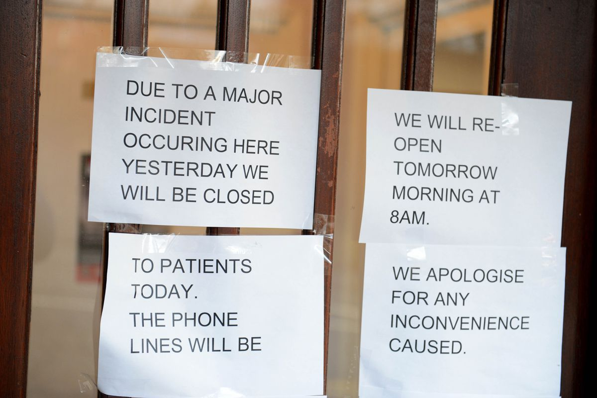 Messages on the door of the surgery after the stabbing