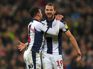 Jay Rodriguez of West Bromwich Albion celebrates after scoring a goal to make it 2-0 with Hal Robson-Kanu of West Bromwich Albion. (AMA)