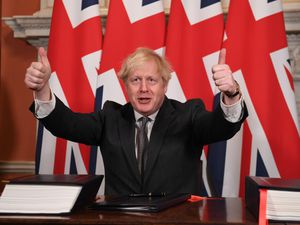 Boris Johnson after signing the Brexit trade agreement with EU