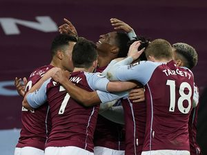 """Aston Villa's Kortney Hause celebrates scoring his side's second goal of the game during the Premier League match at Villa Park, Birmingham. during the Premier League match at Villa Park, Birmingham. PA Photo. Picture date: Saturday December 26, 2020. See PA story SOCCER Villa. Photo credit should read: Tim Keeton/PA Wire. RESTRICTIONS: EDITORIAL USE ONLY No use with unauthorised audio, video, data, fixture lists, club/league logos or """"live"""" services. Online in-match use limited to 120 images, no video emulation. No use in betting, games or single club/league/player publications.."""