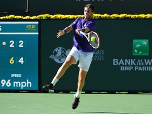Cameron Norrie in action in his semi-final win over Grigor Dimitrov at Indian Wells on Saturday