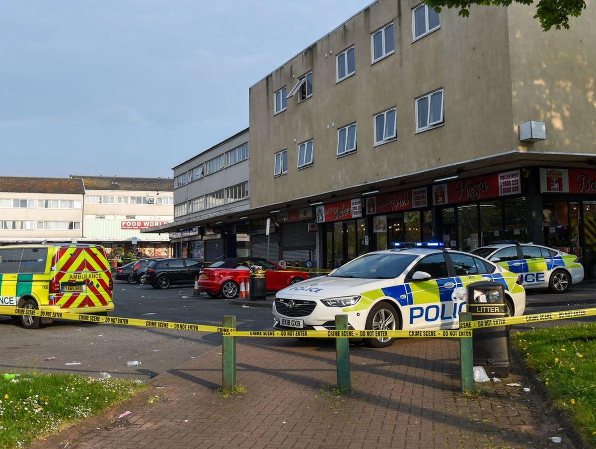 Police at the scene at West Cross Shopping Centre in Smethwick. Photo: SnapperSK