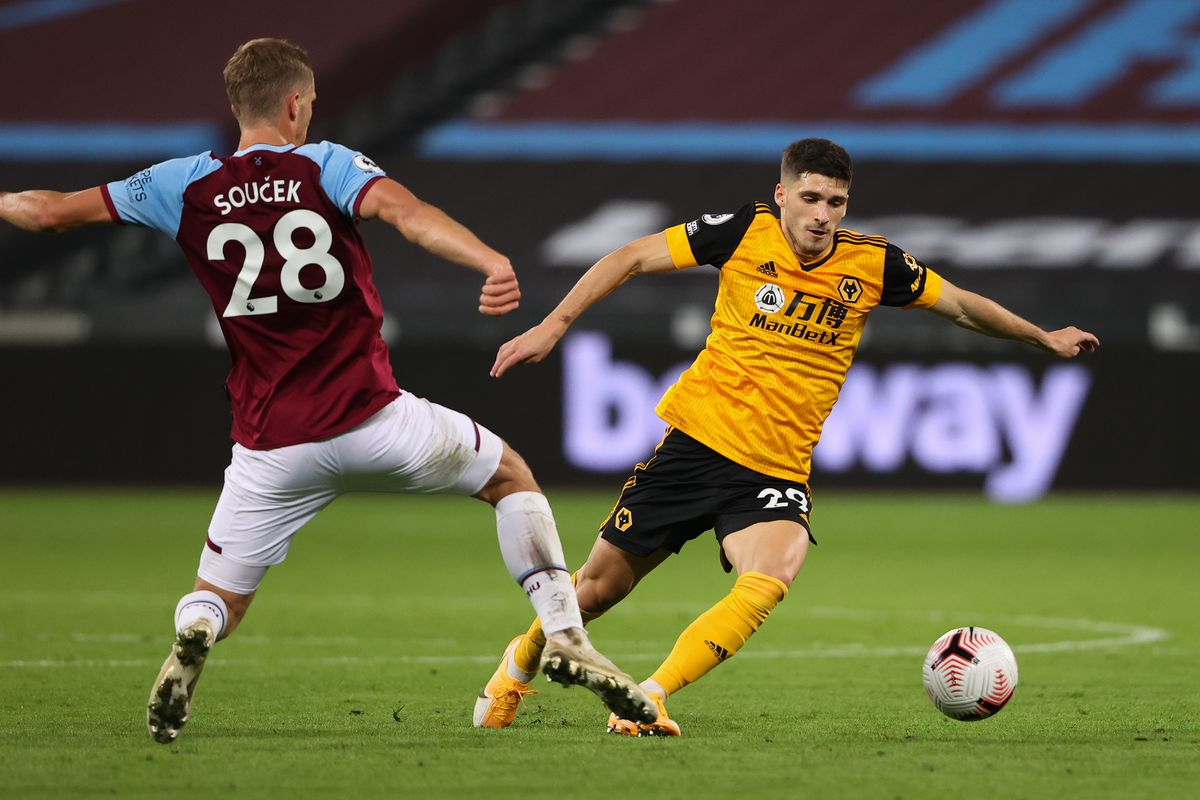 Ruben Vinagre in his last game for Wolves, the 4-0 loss at West Ham earlier this season (AMA)