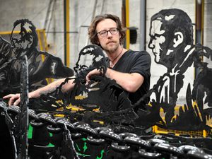 Metal artist Luke Perry, who is based in Cradeley Heath, with is Forward Together artwork