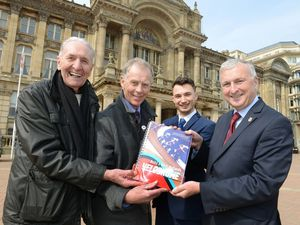 Former World Cycling champion Hugh Porter, Halesowen Cycling Club chairman David Viner, and campaigner Charlie Dickens handed over a petition to Birmingham City Council leader Ian Ward in support of a new velodrome in April 2019.