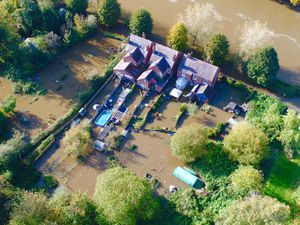 Flooded homes next to The Severn in Bridgnorth. Photo: Chris Bainger