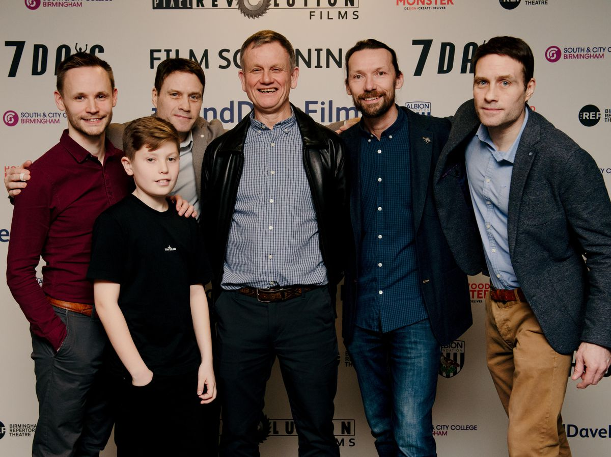 Left to right, lead actor Jack Lane, Charlie Bowell who played a young Dave, Co-director Dominic Higgins, 'Blind Dave' Heeley, producer Nigel Martin Davey and Co-director Ian Higgins