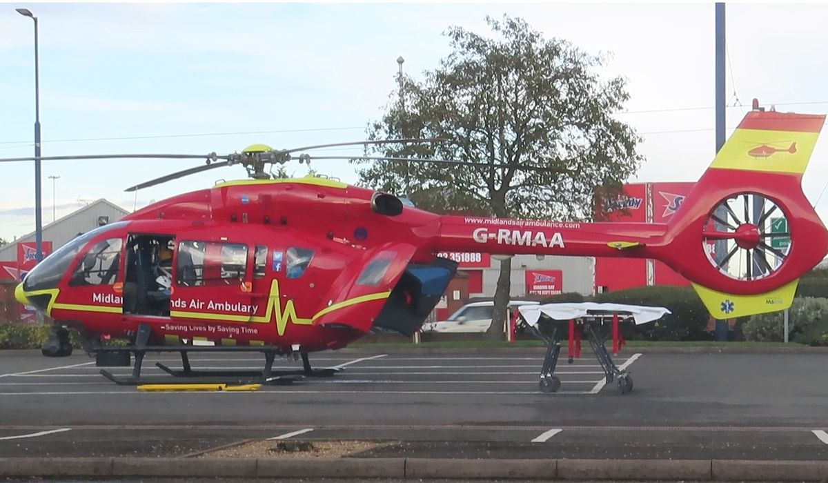 The helicopter landed on the Carpetright car park. Photo: David Evans