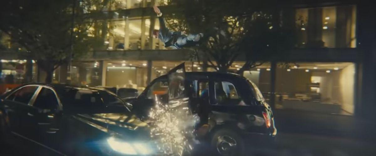 A car crash in the chase scene
