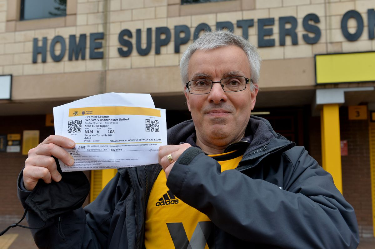 Tony Price with his ticket for Wolves v Manchester United on Sunday