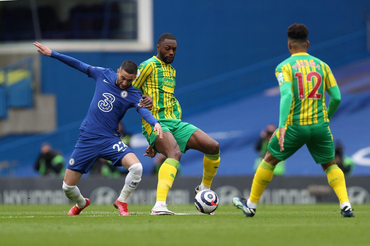 Hakim Ziyech of Chelsea and Semi Ajayi of West Bromwich Albion. (AMA)
