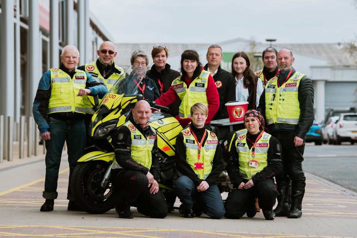 Shropshire and Staffordshire Blood Bikes supporters help with funding for the service in 2019