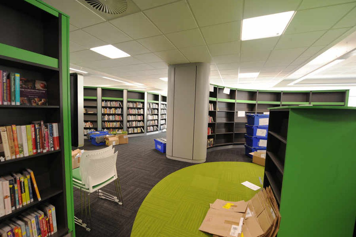 The new library features a modern layout