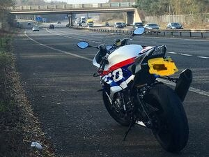 The bike stopped by police on the M54. Photo: @OPUShropshire