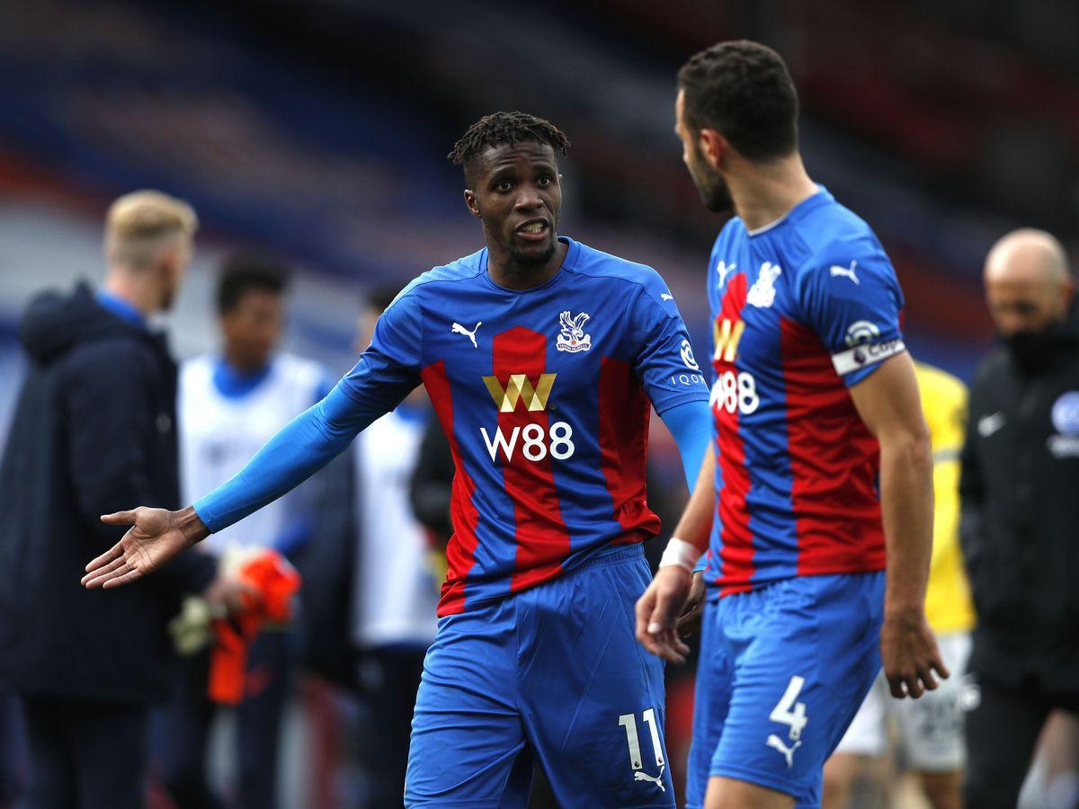 Crystal Palace's Wilfried Zaha reacts