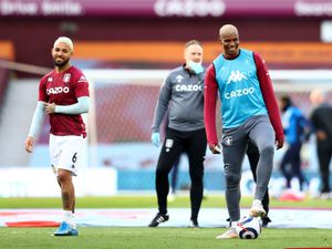 Aston Villa's Wesley (right) warming up before during the Premier League match at Villa Park