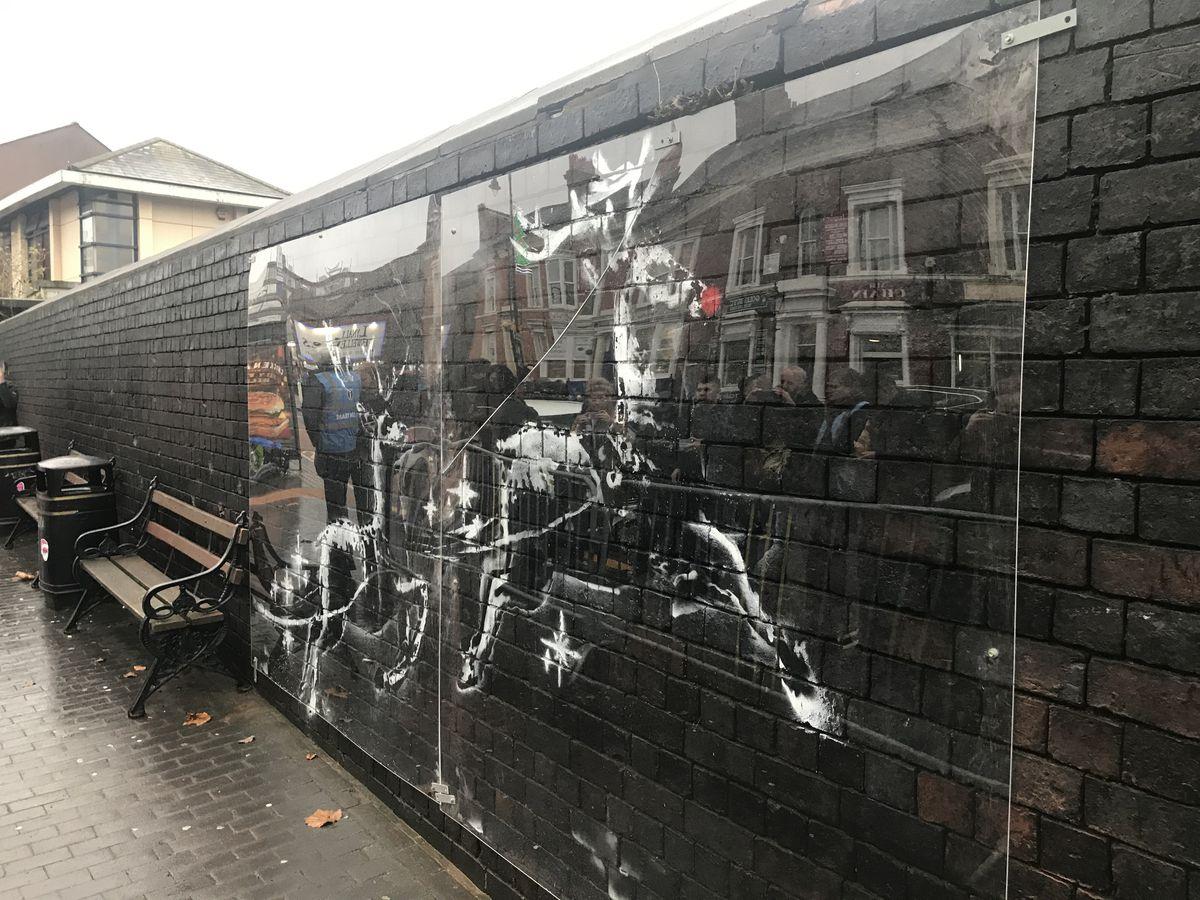 Protected Banksy artwork in Birmingham