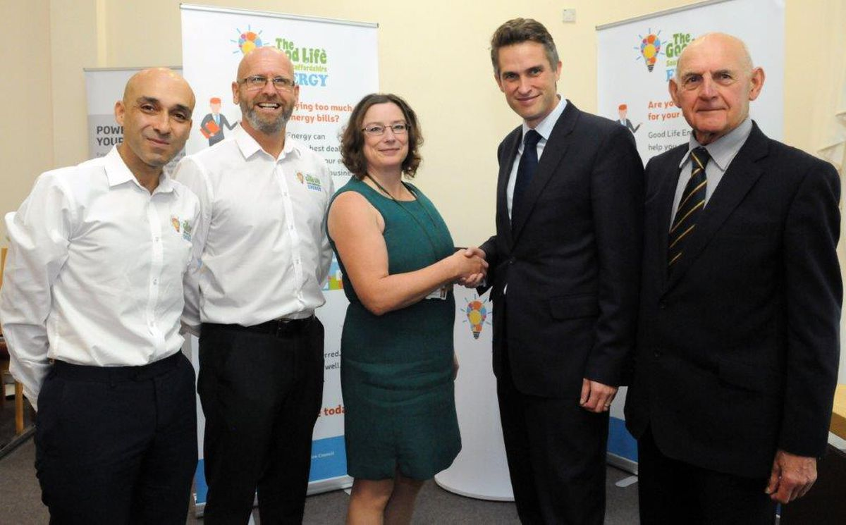 Gavin Williamson MP pictured with (left to right) Ashley Bayliss and Chris Jones from Good Life Energy, Amanda Munro, Energy Conservation Officer at South Staffordshire Council, and Councillor Robert Reade.