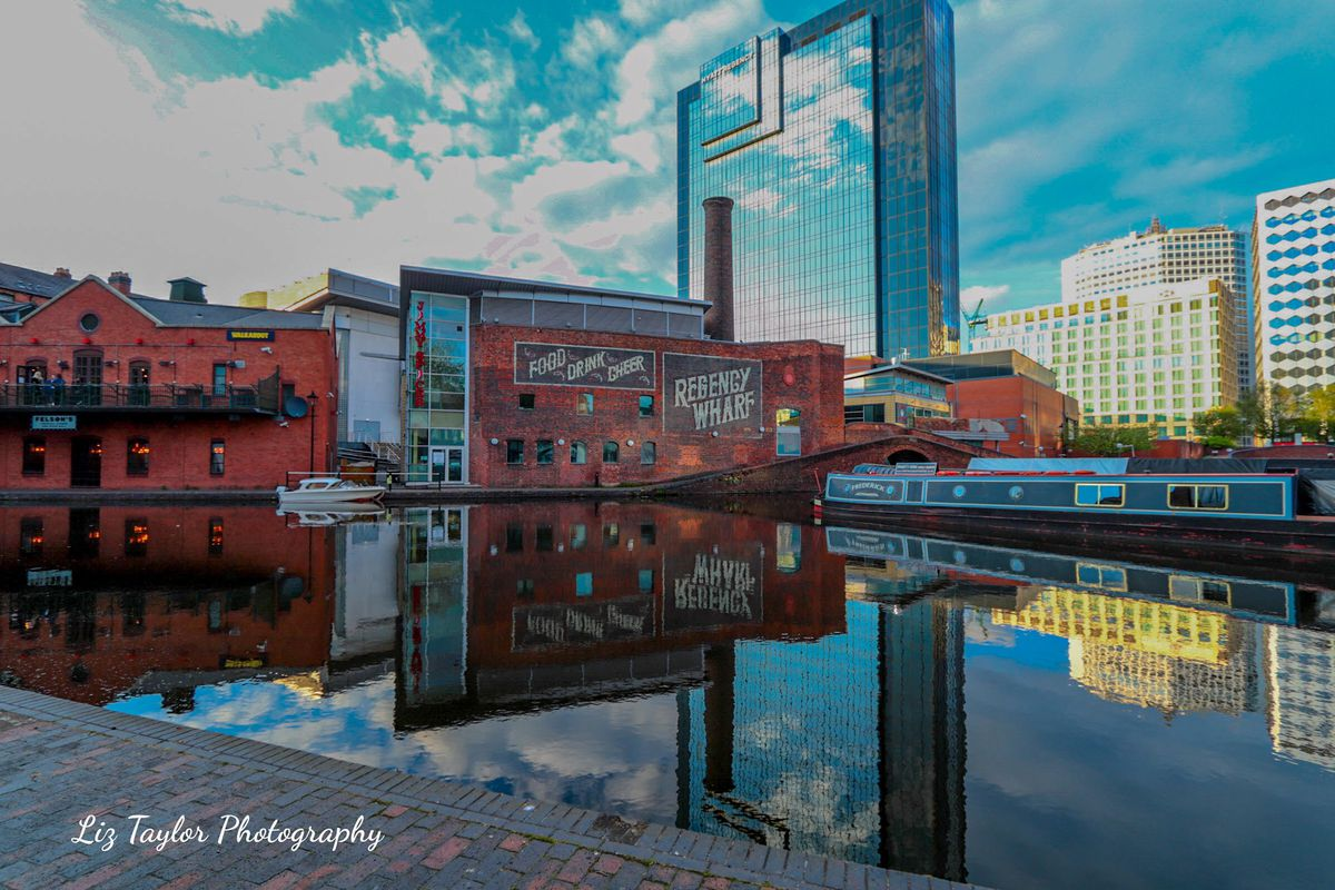 The Hyatt in Birmingham reflected in the canal. By Liz Taylor.