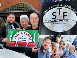 DUDLEY COPYRIGHT EXPRESS AND STAR STEVE LEATH 22/11/2019  Pic in Dudley at Beacon Taxis, where owner: Shaz Zaleem of the Saleem Foundation is helping collect doantions for the Feed a Family Campaign. He is pictured on the left along with: Karen Wilcox (Trustee), Steve Waltho (Chairman), Nat (Trustee), Alexandra Darby (Miss Black Country).