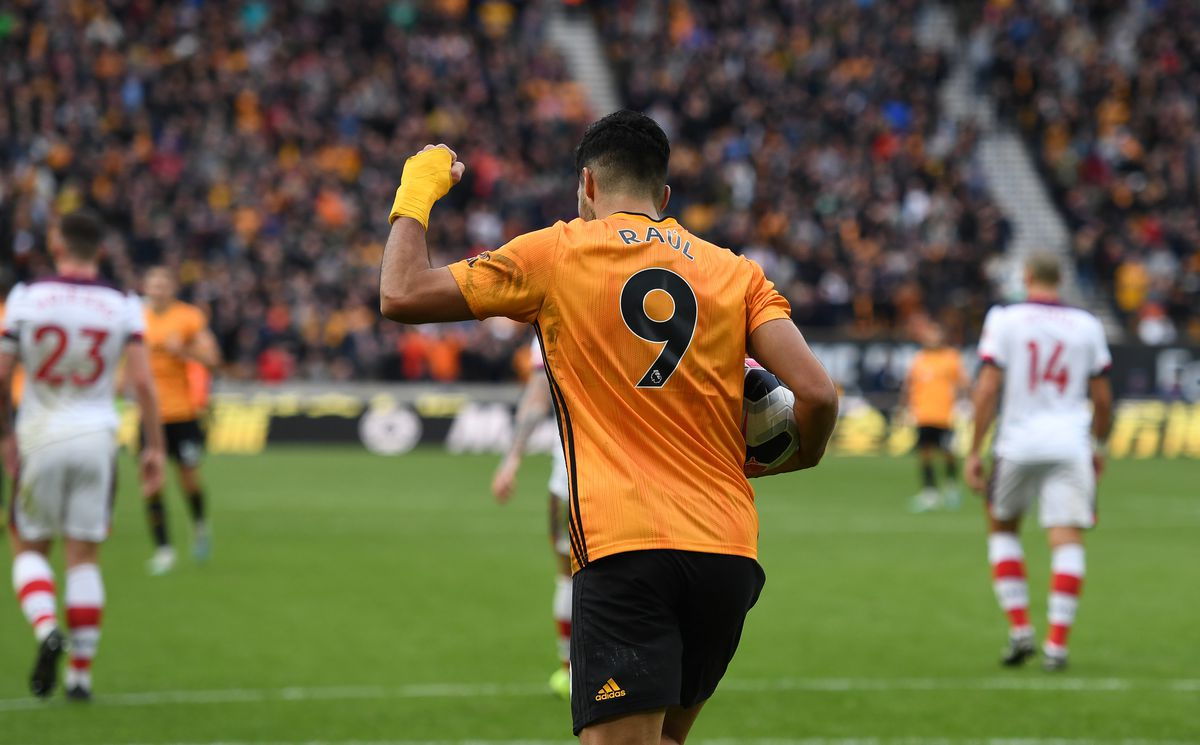 Raul Jimenez of Wolverhampton Wanderers celebrates after scoring a goal to make it 1-1 from a penalty kick. (AMA/Sam Bagnall)
