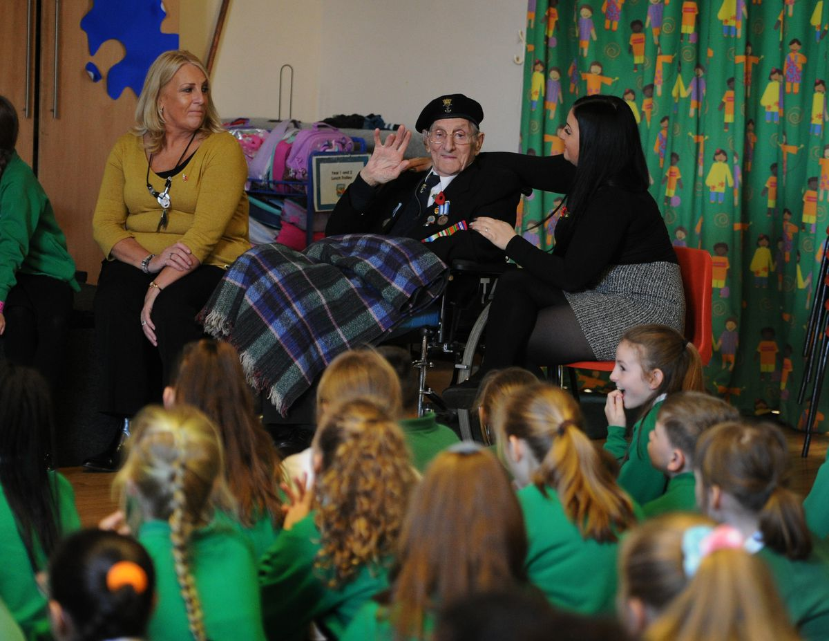 William speaking during the visit to Long Knowle Primary School