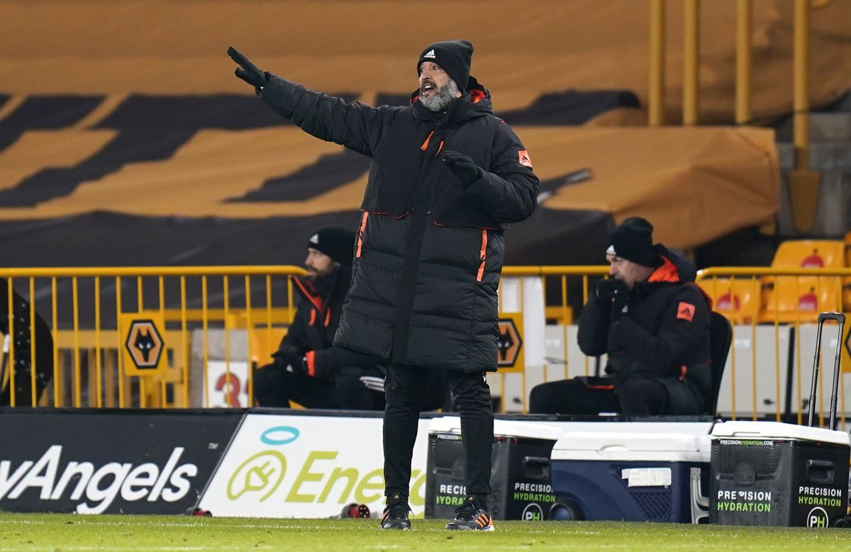 Nuno Espirito Santo gestures on the touchline (PA)