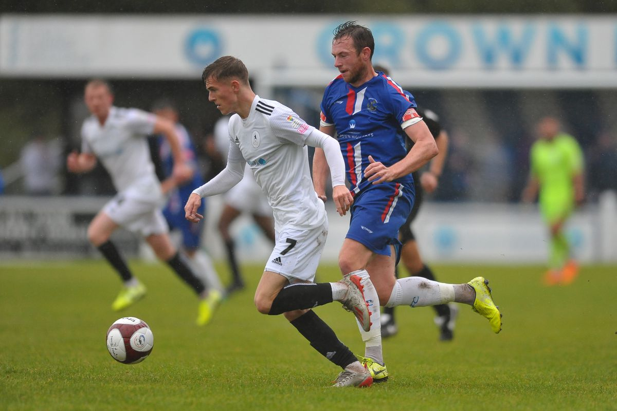 Telford's James Hardy during the FA Cup 2Q fixture between AFC Telford United and Chasetown at the Scholars Ground