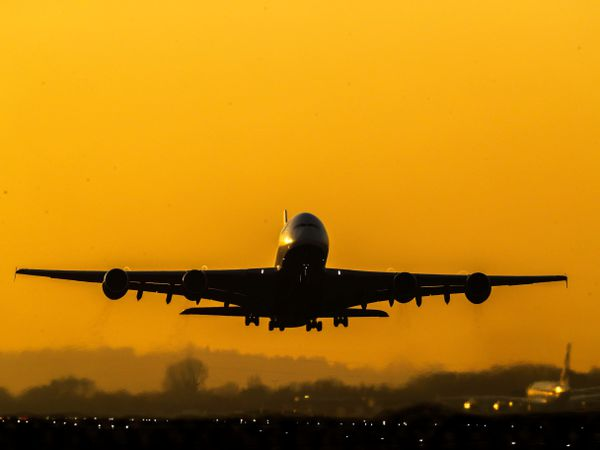A plane taking off