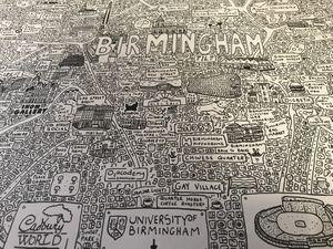 Unique doodle map of Birmingham