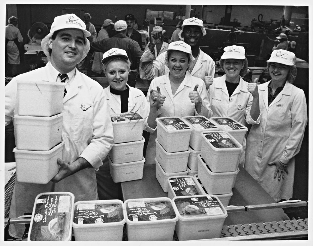 Michael Clarke with some of the workforce as Clarke Foods took on extra ice cream staff in Telford and Stourbridge plants in 1992 as demand spiralled