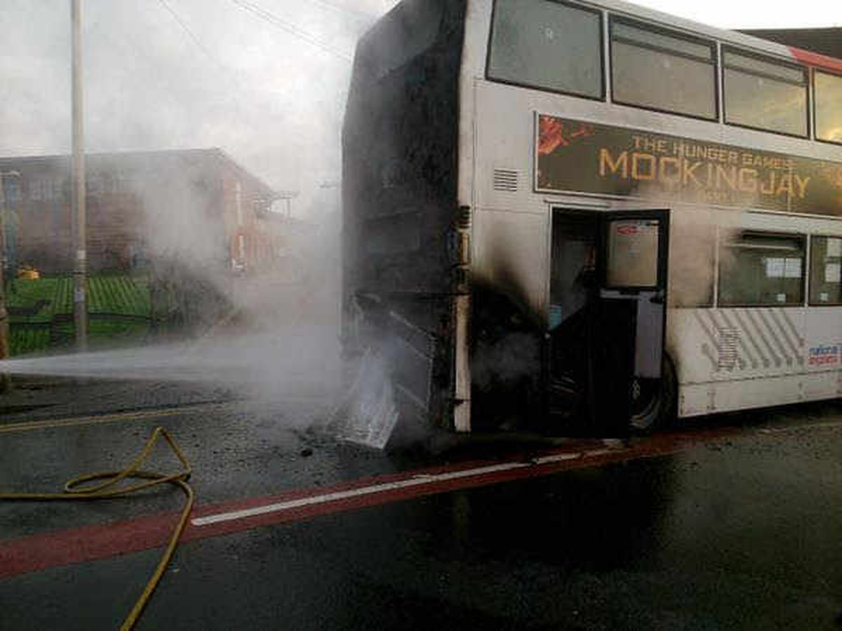 The bus after the blaze. Picture: @hadencrossfire