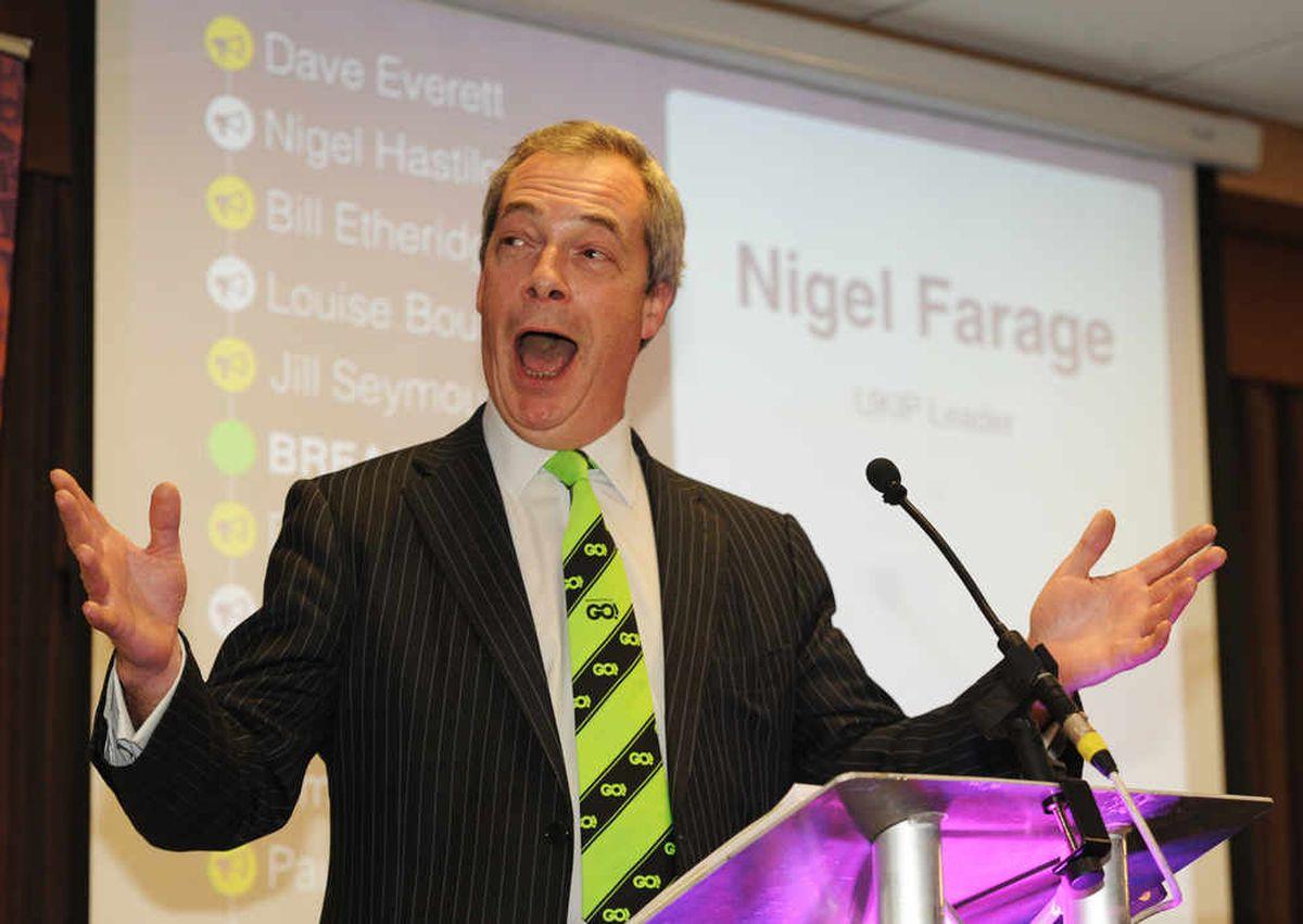 Nigel Farage speaks at the UKIP West Midlands annual conference