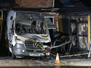 The house and van had been severely damaged by the fire in Pencombe Drive, in Wolverhampton. Photo: Snapper SK