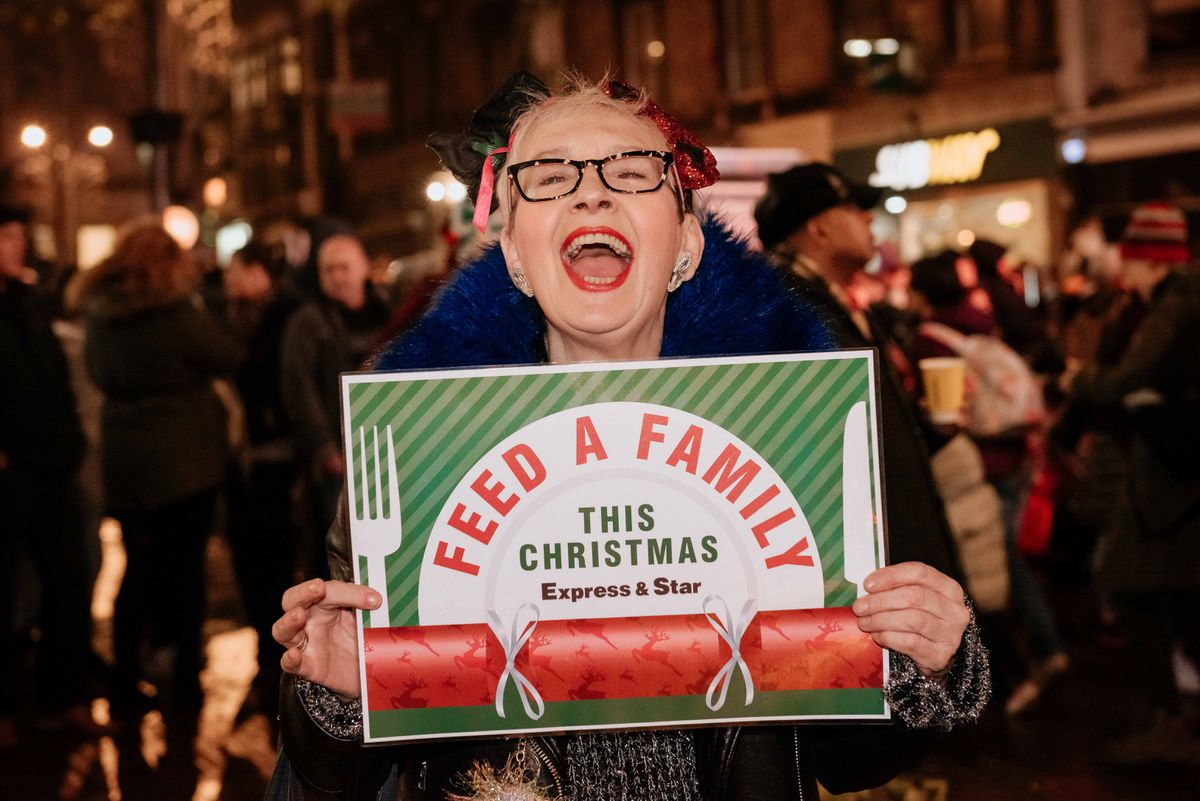 WOLVERHAMPTON COPYRIGHT EXPRESS & STAR JAMIE RICKETTS 23/11/2019 - Wolverhampton Christmas Lights Switch On 2019. In Picture L>R: Su Pollard with Feed a Family Campaign..