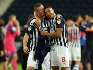 Chris Brunt of West Bromwich Albion and Jake Livermore of West Bromwich Albion celebrate promotion. (AMA)