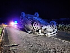 Driver overturns car in Staffordshire