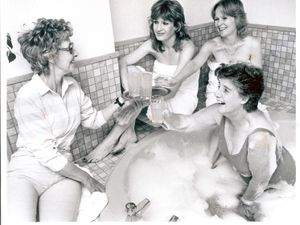 The cast of Steaming enjoy a real-life sauna in Tettenhall during the play's run at Wolverhampton's Grand Theatre