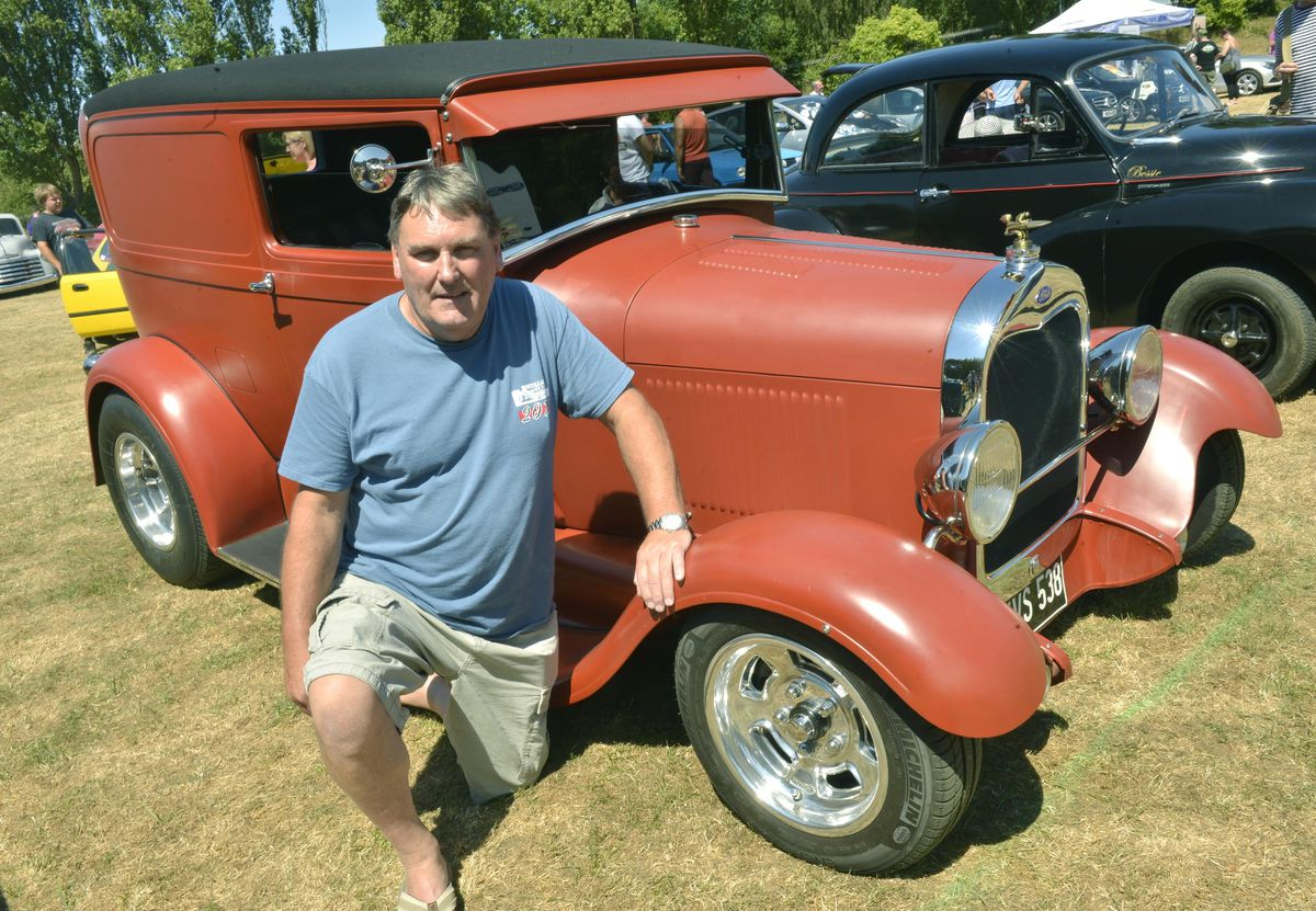 Graham Young from Essington with his 1929 Model A Ford at the Willenhall Transport Show, Willenhall Memorial Park, Pinson Road, Willenhall