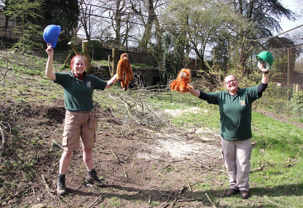 Primate keeper Louisa Dorrington and section leader Pat Stevens celebrate the start of work on the new orangutan enclosure