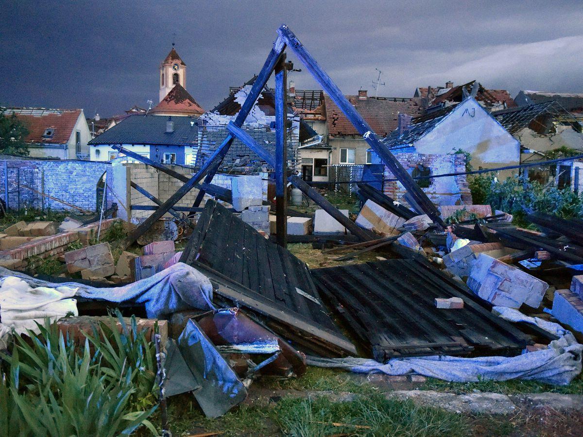 View of the wreckage after a tornado hit the village of Moravska Nova Ves in the Hodonin district, South Moravia, Czech Republic