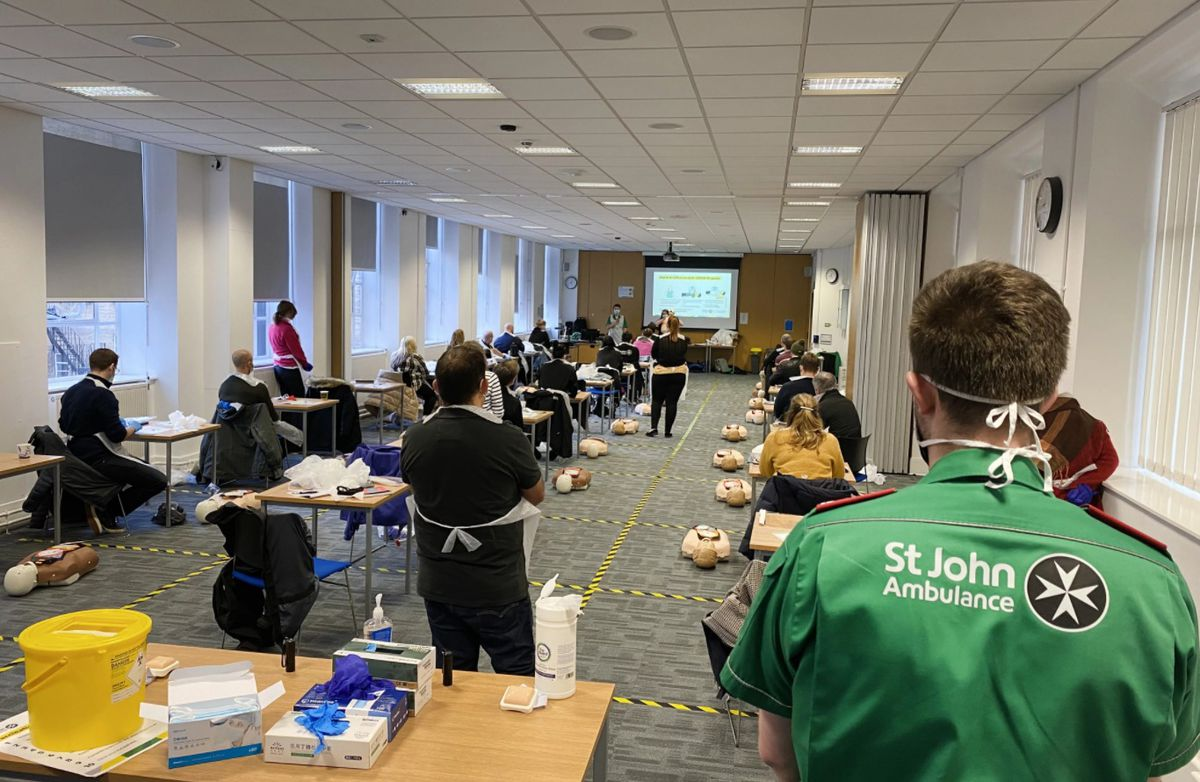 Staff from West Midlands Fire Service receive training from St John Ambulance for the Covid-19 vaccination roll-out